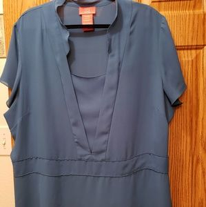 Oscar Turquoise Lt.side zipper 100% polyes.blouse